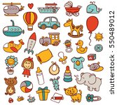 funny baby toys doodle  set.... | Shutterstock .eps vector #550489012