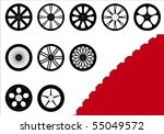 a set of 10 different rims with ...   Shutterstock .eps vector #55049572