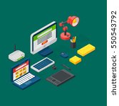 isometric office equipment... | Shutterstock .eps vector #550543792