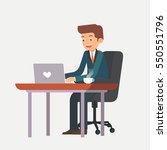 happy businessman or employee... | Shutterstock .eps vector #550551796