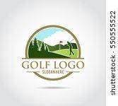 golf logo template. lanscape... | Shutterstock .eps vector #550555522