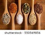 food ingredients in wooden... | Shutterstock . vector #550569856