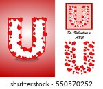 alphabet letter u with red... | Shutterstock .eps vector #550570252