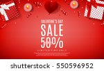 valentine's day sale web banner.... | Shutterstock .eps vector #550596952