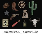 western icons    wild west set... | Shutterstock .eps vector #550604332