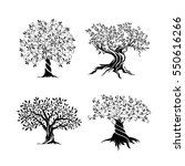 olive trees silhouette icon set ...   Shutterstock .eps vector #550616266