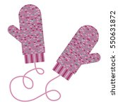 pair of knitted mittens. winter ... | Shutterstock .eps vector #550631872