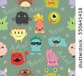 cute monsters vector seamless... | Shutterstock .eps vector #550641418