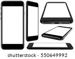 set of black smartphone with a... | Shutterstock . vector #550649992