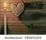 Burning Candle With Burlap...