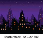 haunted city at night  spooky...   Shutterstock .eps vector #550654402