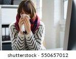 sick businesswoman with a... | Shutterstock . vector #550657012