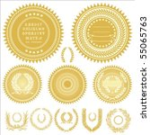 set of gold medals or seals.... | Shutterstock .eps vector #55065763