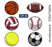 collection of balls sports... | Shutterstock .eps vector #550676806