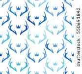 seamless pattern with deer... | Shutterstock .eps vector #550691842