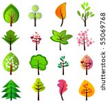 set of different beautiful trees | Shutterstock .eps vector #55069768