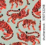 seamless pattern with painted... | Shutterstock . vector #550712248