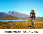 man cyclist traveling on norway ... | Shutterstock .eps vector #550717402