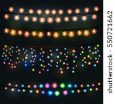 festive lights garland on a... | Shutterstock .eps vector #550721662