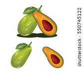 avocado fruit fresh realistic...   Shutterstock .eps vector #550745122