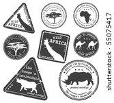 stamp  wild africa  vector set | Shutterstock .eps vector #55075417