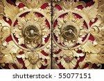 ornate entrance door to temple... | Shutterstock . vector #55077151