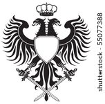 double headed eagle with crown... | Shutterstock . vector #55077388