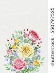watercolor rose bouquet. great... | Shutterstock . vector #550797535