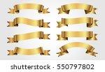 set of golden ribbons on gray... | Shutterstock .eps vector #550797802