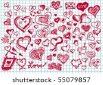 set of hand drawn valentine...   Shutterstock .eps vector #55079857