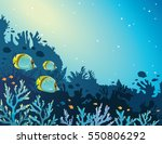 three yellow butterfly fish and ... | Shutterstock .eps vector #550806292