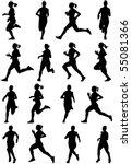 Running Girl Black Silhouettes  ...