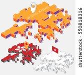 hong kong flag on map element... | Shutterstock .eps vector #550818316