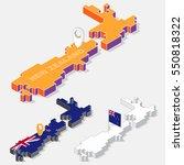 new zealand flag on map element ... | Shutterstock .eps vector #550818322