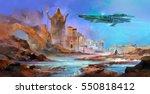 drawn spaceship over an alien... | Shutterstock . vector #550818412