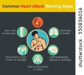common heart attack warning... | Shutterstock .eps vector #550836016
