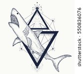 shark tattoo geometric style.... | Shutterstock .eps vector #550836076
