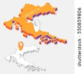 croatia on map element with 3d... | Shutterstock .eps vector #550859806