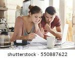 worried young caucasian married ... | Shutterstock . vector #550887622