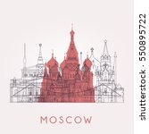 outline moscow skyline with... | Shutterstock .eps vector #550895722