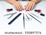 nail care. closeup of beautiful ... | Shutterstock . vector #550897576