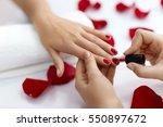 manicure. closeup of beautiful... | Shutterstock . vector #550897672