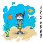 cheerful boy swimming... | Shutterstock .eps vector #55090801
