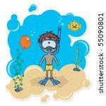 cheerful boy swimming... | Shutterstock .eps vector #55090801