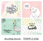 set of valentine's day greeting ... | Shutterstock .eps vector #550911106
