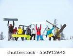 group of happy friends skiers... | Shutterstock . vector #550912642