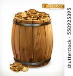 Treasure  Wooden Barrel With...