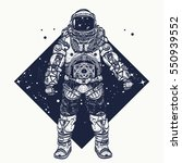 Astronaut Tattoo. Cosmonaut In...