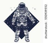 astronaut tattoo. cosmonaut in... | Shutterstock .eps vector #550939552