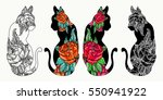 cats tattoo art and t shirt... | Shutterstock .eps vector #550941922